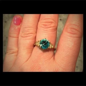 {Fragrant Jewels} Aquamarine Golden Ring